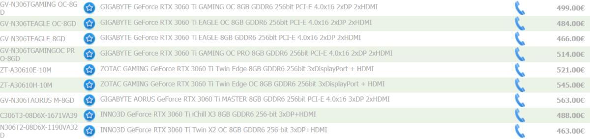英伟达非公版 GeForce RTX 3060 Ti 欧洲售价泄露