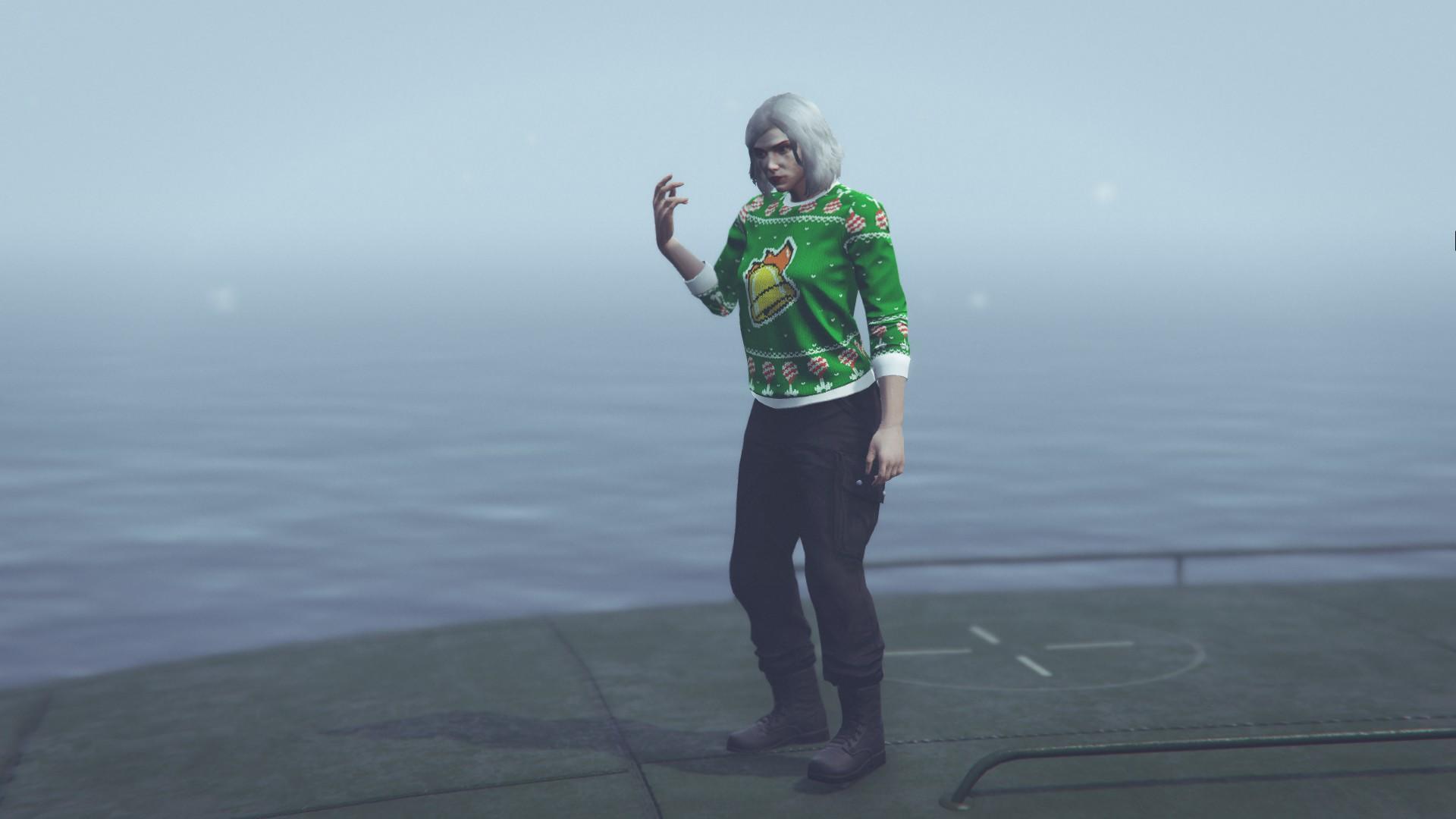 绿色当当钟节庆毛衣