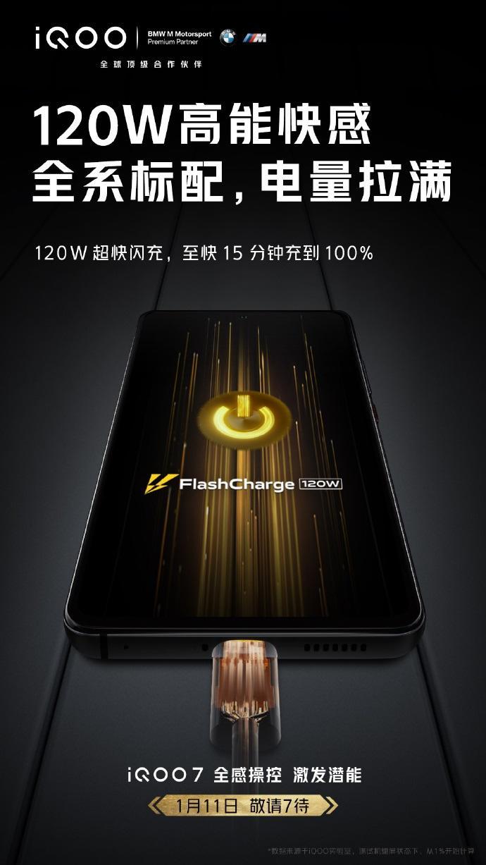 iQOO 7 官宣全系标配 120W 超快闪充:15 分钟电量充到 100%